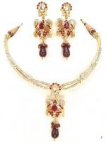 Nose Rings (Imitation) - Exotica Golden & Maroon Copper Stone Necklaces