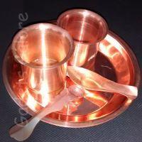 Copper Pooja Thali For Panchmrit Glass, Argah ,achmani,thali,for Pooja
