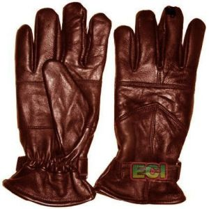 Gloves (Men's) - Brown Pure Leather Gloves, Stylish Gents Warm Padded Glove Pair