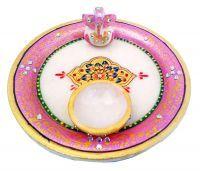 Handicrafts - Pink Marble Puja Thali