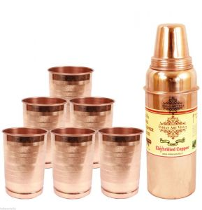 Utensils - Aayurveda Handmade Pure Copper Set Of 6 Glass Cup And 1 Bottle