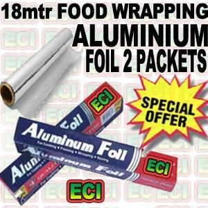 2 Rolls Aluminium Foil For Food Wrapping 18mtr