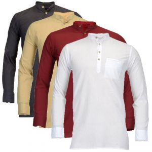 Men's Wear - Feed Up Men's Cotton Kurta Pack Of 4