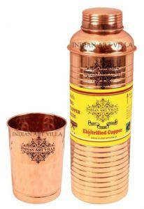 Utensils - Pure Copper Set Of 1 Bisleri Design Bottle 800 Ml With 1 Glass Tumbler 300 Ml - Storage Water