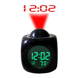 Clocks - Talking Laser Projector Projection Alarm Table Clock Thermometer Black - 02