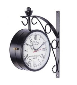 Clocks - Victoria Two Sided Railway Wall Clock-black 6 Inch