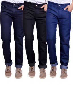Jeans (Men's) - Masterly Weft Trendy Pack Of 3 Mens Cotton Jeans - (code -d-jen-3-2-p)
