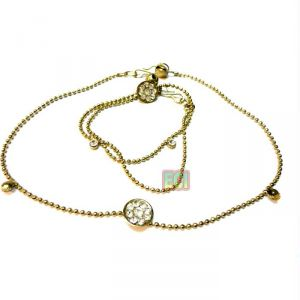 Anklets (Imititation) - Gold Foaming Anklet Payal, Pair of Ladies Anklets