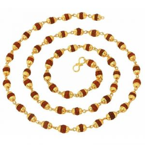 Fashion, Imitation Jewellery - Mahi Gold Plated Rudraksh Mala Chain 24 Inches Long For Men Cn1100216g