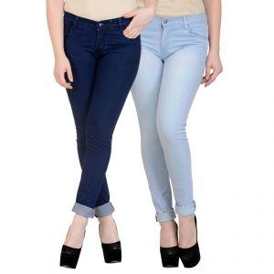 K-san Women's Dark Blue - Light Blue Cotton Jeans-pack Of 2 (product Code - Ksn-2cm-wmnjen-drkblu-iceblus-1)