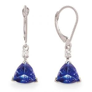 Ag Gem Diamond Blue Trilliant Gemstone Earring