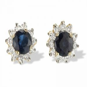 Ag Gem Real Diamond Round Gemstones Earring