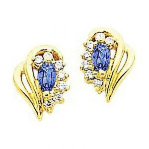 Ag Gem Real Diamond Marquise Gemstones Earring