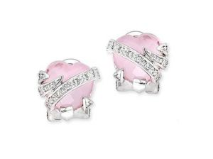 Ag Gem Real Diamond Pink Heart Gemstones Earring