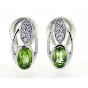 Ag Gem Diamond Green Oval Shape Gemstones Earring