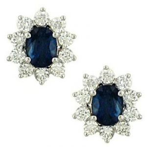 Triveni,Platinum,Jagdamba,Ag,Estoss Women's Clothing - Ag Gem Diamond Black Blue Oval Gemstones Earring