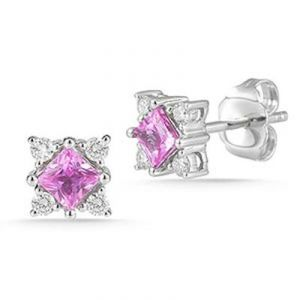 Ag Gem Diamond Pink Princess Gemstones Earring