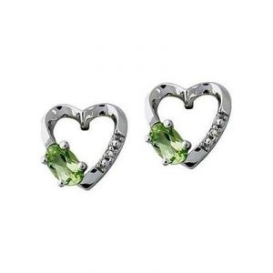 Asmi,Sukkhi,Clovia,Ag Diamond Jewellery - Ag Gem Diamond Green Oval Gemstones Heart Earring