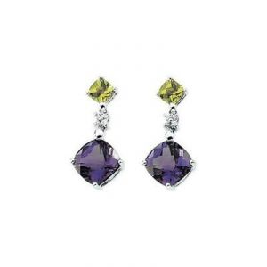Ag Gem Diamond Blue & Greenich Gemstone Earring