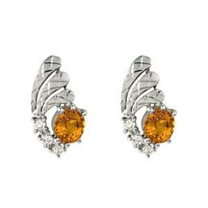 Ag Gem Diamond Orange Round Gemstones Earring