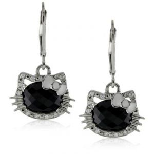 Ag Gem Diamond Black Round Gemstones Earring
