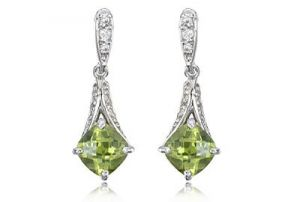 Ag Gem Diamond Green Gemstones Dangling Earring