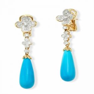 Triveni,Platinum,Jagdamba,Ag,Estoss Women's Clothing - AgGem Diamond Blue Gemstones Dangling Earring