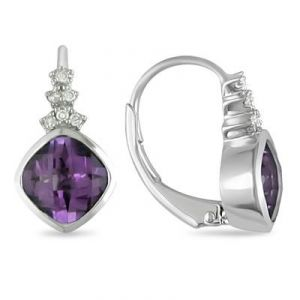 Ag Gem Diamond Purple Gemstones Hoop Earring