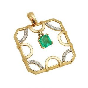 Aggem Real Diamond Green Gemstones Classic Pendant