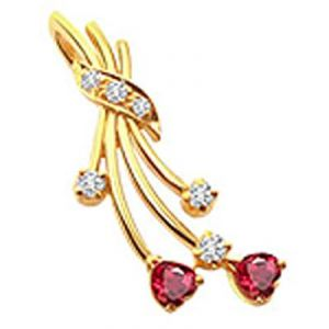 Aggem Real Diamond Red Gemstones Classic Pendant