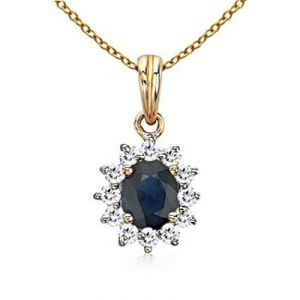 Ag Gem Real Diamond Blue Gemstones Pendant