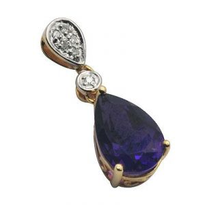 Ag Gem Real Diamond Blue Pear Gemstones Pendant