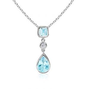 Ag Gem Diamond Blue Pear&square Dangle Pendant