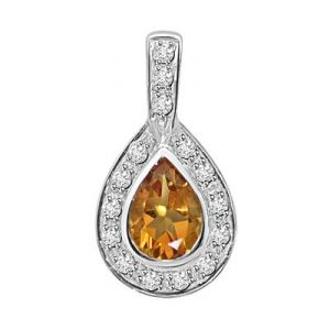 Ag Gem Diamond Golden Brown Pear Gemstones Pendant