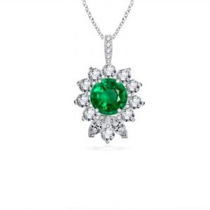 Ag Gem Diamond Green Round Gemstones Pendant