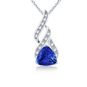 Ag Gem Diamond Blue Trilliant Gemstones Pendanat