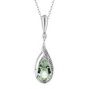Ag Gem Diamond Green Pear Gemstones Pendant