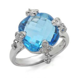 Ag Gem Real Diamond Blue Square Gemstones Ring