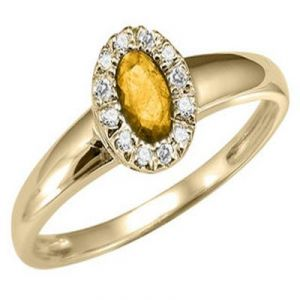 Aggem Diamond Golden Brownoval Gemstones Ring