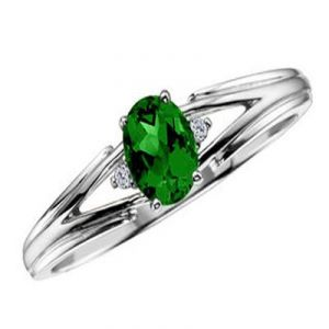 Ag Gem Diamond Green Oval Shape Gemstones Ring