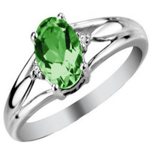 Ag Gem Real Diamond Green Oval Gemstones Ring