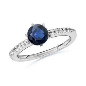Ag Gem Real Diamond Blue Round Gemstones Ring