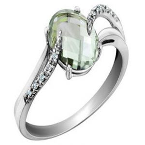 Aggem Real Diamond Light Green Oval Gemstones Ring