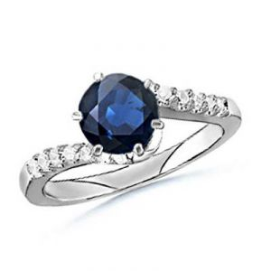 Ag Gem Real Diamond Blue Round Gemstone Ring