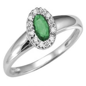 Aggem Real Diamond Dark Green Oval Gemstone Ring