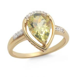Ag Gem Real Diamond Greenich Pear Gemstones Ring