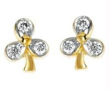 Ag Real Diamond Leaf Shape Earring Agse0007