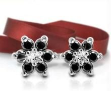 Ag Real Diamond Stone Flower Earring Agse0016