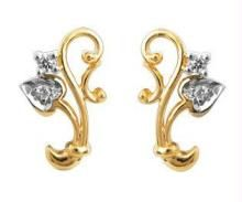Ag Real Diamond Two Stone Leaf Earring Agse0042