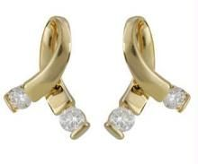 Ag Real Diamond Ribon Shape Earring Agse0046
